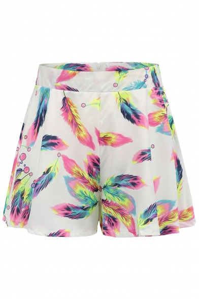 Chic Feather Printed Zipper Fly Loose Leisure Culottes