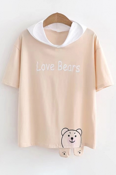 74667be373f78 Color Block Bear Letter Printed Short Sleeve Hooded Tee - Beautifulhalo.com