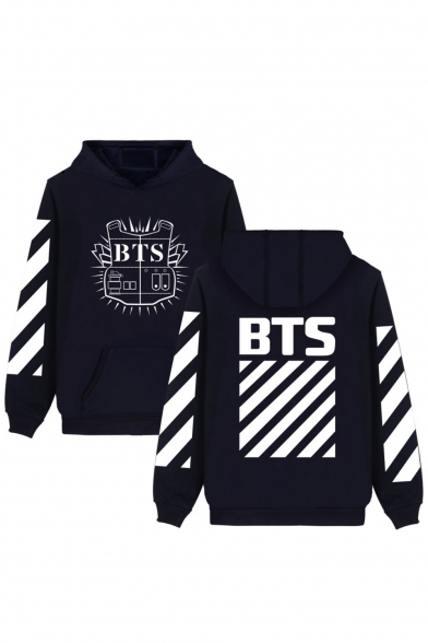 Hot Fashion Striped Symbol Letter Print Long Sleeves Pullover Hoodie with Pocket, LC465769, Black;pink;white;gray;camouflage;navy