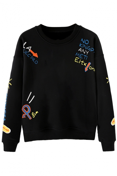 Pullover Sale Sweatshirt Sleeve Neck Long Round Printed Letter Hot aqf77