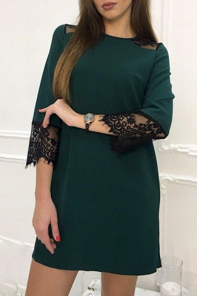 Lady Lace Insert 3/4 Length Sleeve Round Neck Mini Shift Dress