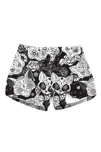 Leisure Floral Fox Printed Drawstring Waist Beach Shorts with Pockets
