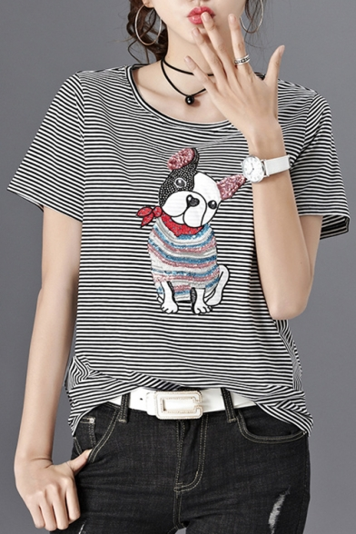 Striped Dog Sequined Short Tee Neck Round Sleeve Lovely IRAawx8qx