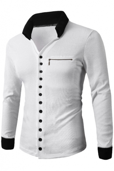 Tee Front Detail Button Lapel Color Style Men's Hot Zipper Block Slim qCwxOU4v