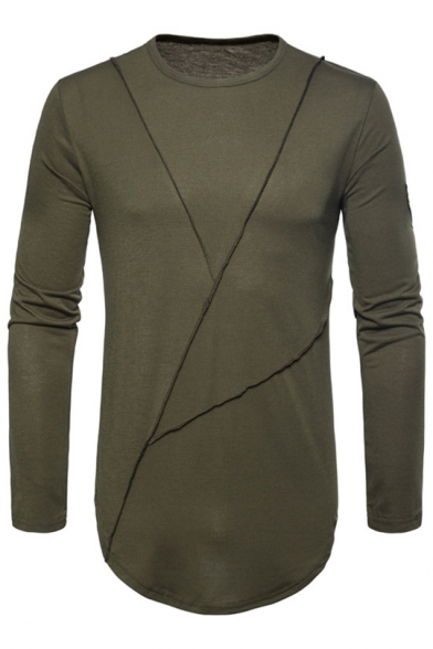 Natural Autumn Round Tee Neck Men's Embroidery Sleeves Side Long Fashion rg6APrq