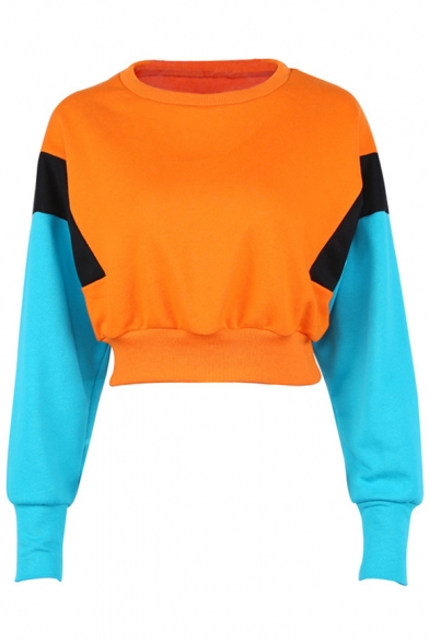 Pullover Sleeves Long Sweatshirt Round Block Color Cropped Popular Neck YwgTTq