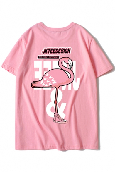 Popular Flamingo Letter Print Round Neck Short Sleeves Summer T-shirt