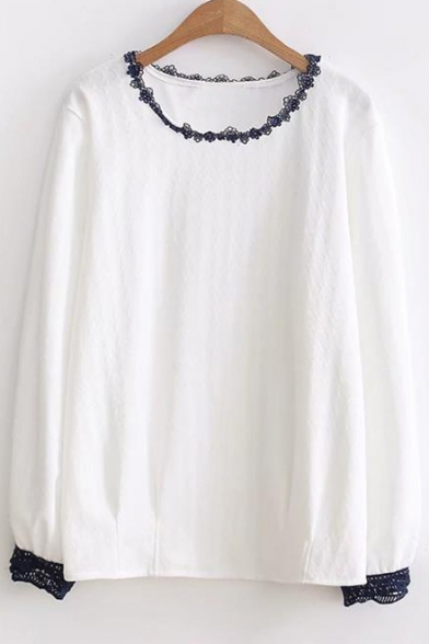 Simple Lace Panel Round Neck Long Sleeve Loose Blouse
