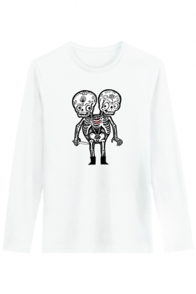 Skull Round Street Sleeve Tee Cartoon Printed Neck Long Style Leisure awwHEqv