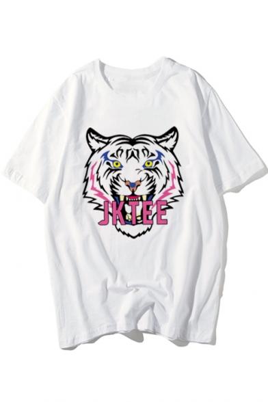 Stylish Tiger Letter Print Round Neck Short Sleeves Summer T-shirt