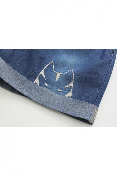 Summer Fashion Cat Cartoon Embroidery Drawstring Waist Pocket Detail Denim Shorts