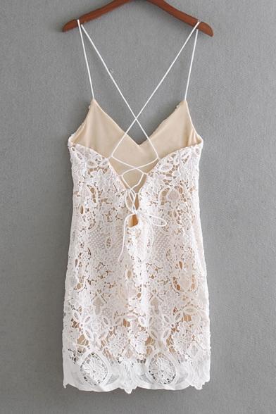 Summer Fashion Lace Panel Spaghetti Straps Cross Back Lace Up Detail Mini Cami Dress