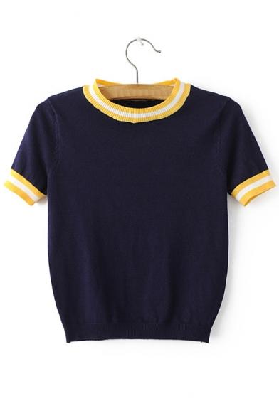 Striped Women's Cropped Sleeve Short Stylish Trim Round Sweater Neck BPxw75qv