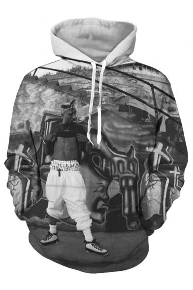 Hoodie 3D Fashion Sleeve Printed Long Character Digital Oversize 0qC0f