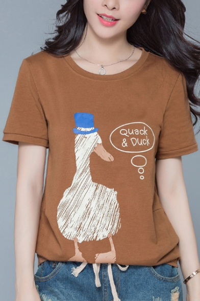 Letter Duck Chic Sleeves Print Casual Tee Short Neck Round 5PAxqdTnAv