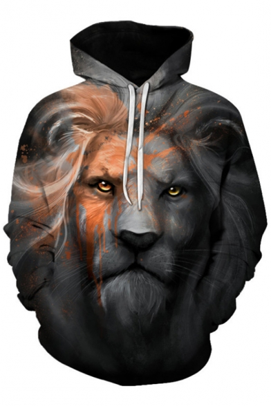 for Loose Sleeve Lion Couple Leisure Cool Printed Long Hoodie Digital ROWZRaq8