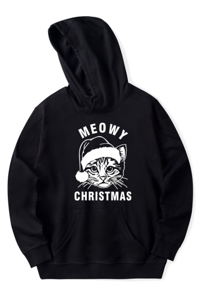 Cute Christmas Cat Letter Print Long Sleeves Pullover Hoodie, LC466720, Black;pink;red;white;gray;navy