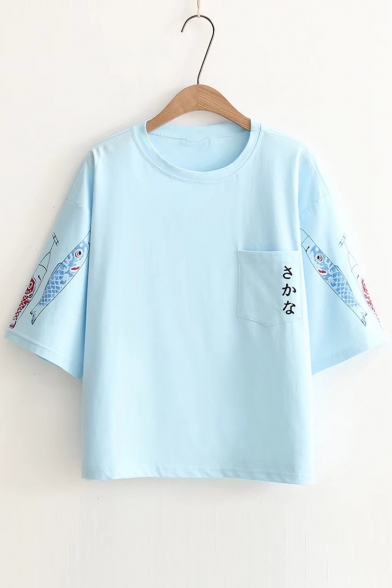 Sleeves Round Pattern Neck Tee Japanese Fish Short Streamer Fancy Carp Pocket Xqxwf8IYp