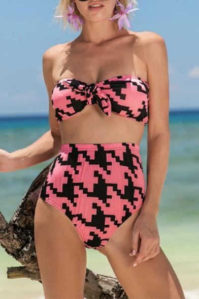 Fancy Geometric Pattern Bow Knotted Front High Waist Bikini