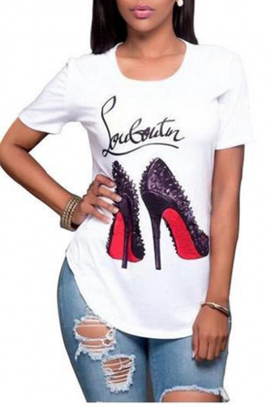 Sleeves Shoes Heel Round Neck Tee Pattern High Fashionable Short Letter qPE8WU