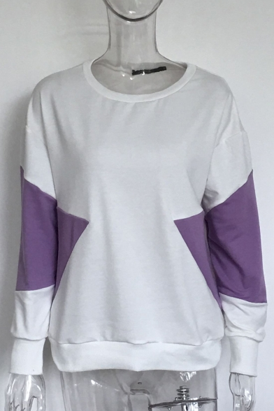 Sweatshirt Block Long Casual Sleeves Hot Pullover Round Color Neck Sale 4xwEqZz