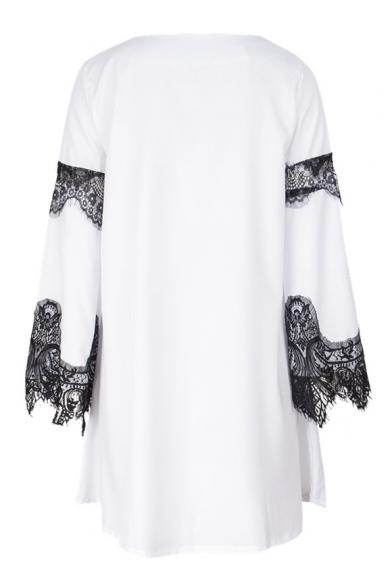 Lady Lace Insert Round Neck Long Sleeve Mini A-Line Dress