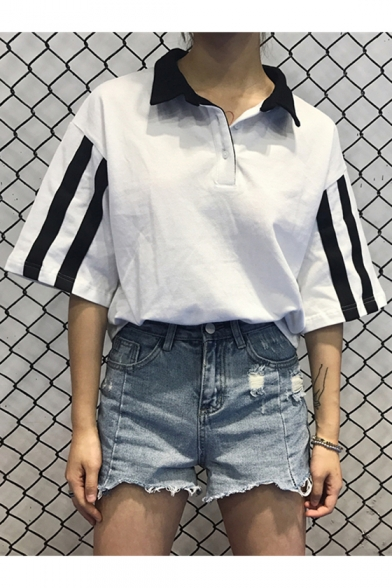 Leisure Striped Pattern Lapel Button Detail Half Sleeve Loose Polo Tee