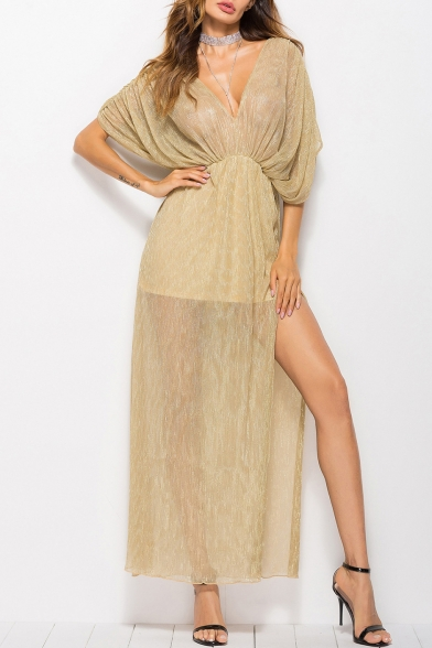 New Stylish Plunge Neck Half Sleeve Split Side Plain Maxi A-Line Dress