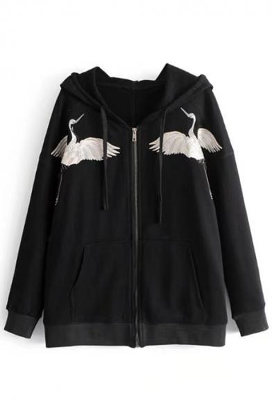 New Trendy Crane Embroidered Long Sleeve Loose Zip Up Hoodie