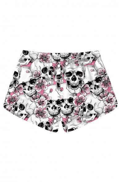 New Trendy Skull Floral Printed Drawstring Waist Beach Shorts