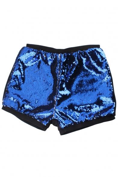 Party Style Elastic Waist Stylish Sequined Mid Waist Skinny Shorts