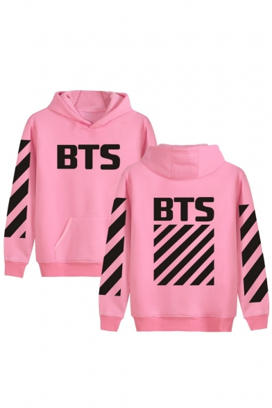 Pop Fashion Letter Striped Print Long Sleeves Pullover Hoodie with Pocket