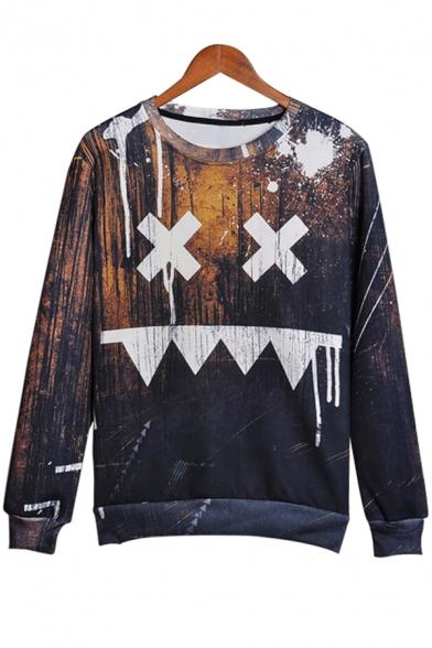 Sad Face Splash Ink Printed Round Neck Long Sleeve Pullover Sweatshirt