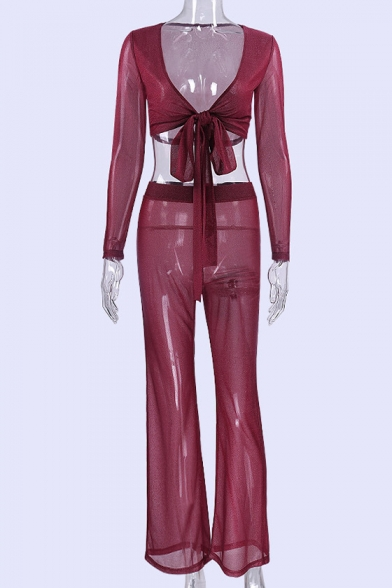 Cropped Neck Long V with Sleeve Tee Waist Tied Pants Elastic Mesh Co Sheer Front Sexy ords wq8tYSYx4