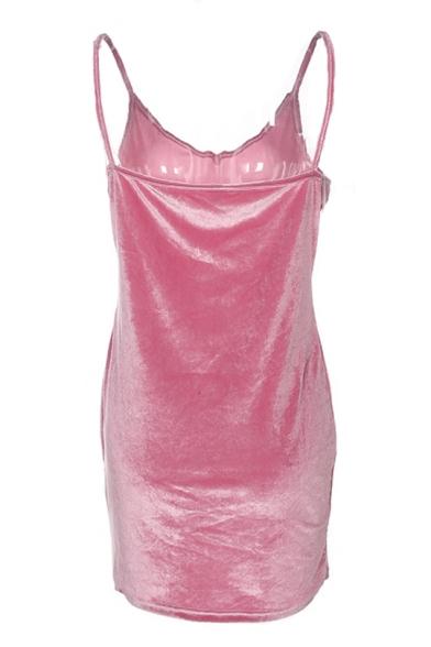 Letter Cami Printed Velvet Simple Spaghetti Sexy Straps Dress Sleeveless Mini wq58nCE