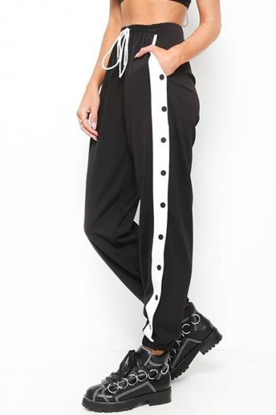 Street Fashion Striped Side Button Detail Drawstring Waist Loose Joggers