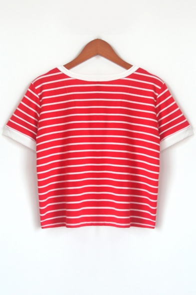 Casual Striped Short Cropped Tee Round Sleeves Neck Pattern Stylish dYxwqvgg