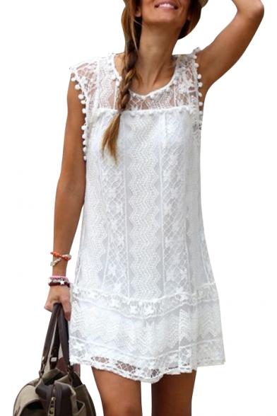 Summer Fashion Lace Insert Cap Sleeve Plain Pompom Detail Mini Shift Dress