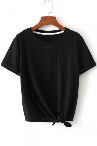 Arrival Round Plain Short Sleeve Summer's Neck Hem Knotted Simple New Tee 5BqBY7Zw