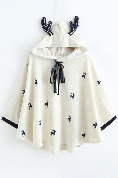 Fashion Pattern Deer Allover Cape Autumn Horn Tie Neck Lace Bow Hooded Padded 7xdZnf