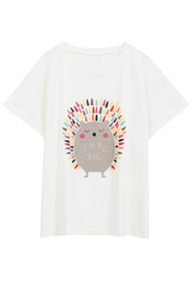 Leisure Tee Hedgehog Printed Loose Neck Short Sleeve Cartoon Letter Round TdzqWcXwX