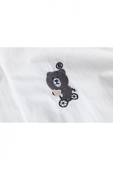Shirt Chic Paw Long Cartoon Lapel Button Bear Sleeve Embroidery Front HaCzw