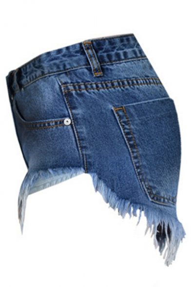 Chic Zipper Fly Tassel Hem Hot Pants Denim Shorts with Pockets