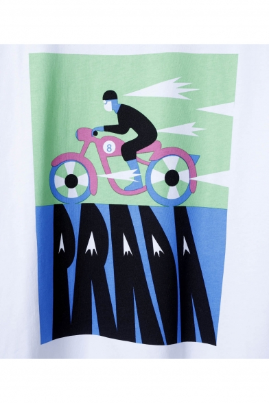Comic Round Sleeve Tee Printed Neck Character Bicycling Short rq4rnO1c