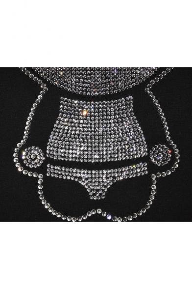 Printed Hoodie Long Unisex Embellished Panda Diamante Sleeve qfYwSEfPg