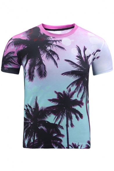 Printed Sleeve Leisure Neck Digital Round Tee Coconut Tree Short FWwv6