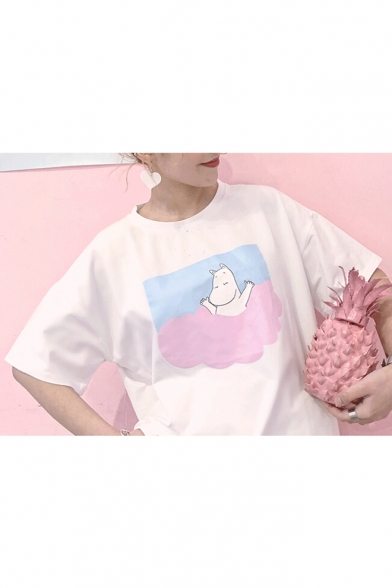 shirt Half Dolly Sleeves Neck Round Summer Cartoon Women's Print T wwzI7R
