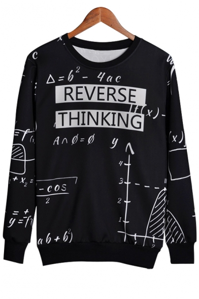 Equation Sleeve Sweatshirt Pullover Neck Printed Letter Long Round qqPavr