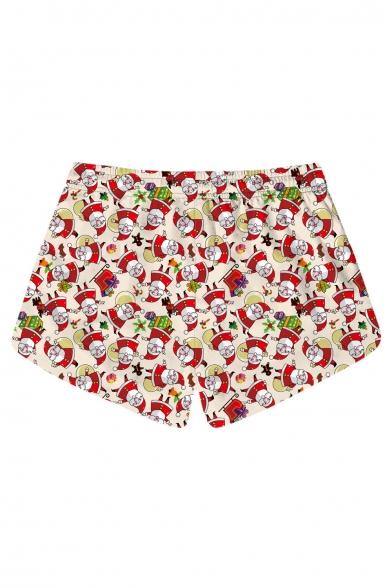 Lovely Cartoon Santa Claus Printed Drawstring Waist Shorts