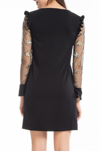 Pentagram Embellished Sheer Mesh Insert Long Sleeve Round Neck Ruffle Detail Mini A-Line Dress